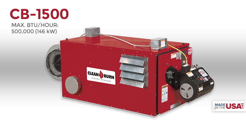 CTB-1500, Waste Oil Furnace, Used Oil Furnace, Furnace, Clean Burn, Model CB-1500, 44 kW, 150000 BTU/hr.