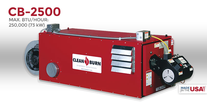 CB-2500, Waste Oil Furnace, Used Oil Furnace, Furnace, Clean Burn, Model CB-2500, 250,000 BTU/hr.